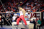 20 APR 2012: Jake Dalton of Oklahoma competes on the Pommel Horse during the Division I Men's Gymnastics Championship held at the Lloyd Noble Center on the University of Oklahoma campus in Norman, OK. The University of Oklahoma team finished in second place with a score of 357.45. Stephen Pingry/NCAA Photos