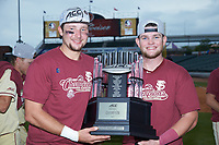 Florida State Seminoles catchers Cal Raleigh (left) and Bryan Bussey (right) pose for a photo with the championship trophy following their win over the North Carolina Tar Heels in the 2017 ACC Baseball Championship Game at Louisville Slugger Field on May 28, 2017 in Louisville, Kentucky. The Seminoles defeated the Tar Heels 7-3. (Brian Westerholt/Four Seam Images)