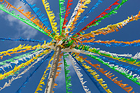 "Spain. Balearic Islands. Minorca (Menorca). Mahon. Decoration during the traditional summer festival of ""Festes de la Mare de Déu de Gràcia""  Colorful festive bunting across street. Maó (in Catalan) and Mahón (in Spanish), written in English as Mahon, is a municipality, the capital city of the island of Menorca, and seat of the Island Council of Menorca. The city is located on the eastern coast of the island, which is part of the autonomous community of the Balearic. In Spain, an autonomous community is a first-level political and administrative division, created in accordance with the Spanish constitution of 1978, with the aim of guaranteeing limited autonomy of the nationalities and regions that make up Spain. 7.09.2019 © 2019 Didier Ruef"