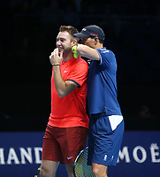 Mike Bryan with partner Jack Sock during their match against Pierre-Hughes Herbert and Nicolas Mahut in their doubles Final match today<br /> <br /> Photographer Rob Newell/CameraSport<br /> <br /> International Tennis - Nitto ATP World Tour Finals Day 8 - O2 Arena - London - Sunday 18th November 2018<br /> <br /> World Copyright &copy; 2018 CameraSport. All rights reserved. 43 Linden Ave. Countesthorpe. Leicester. England. LE8 5PG - Tel: +44 (0) 116 277 4147 - admin@camerasport.com - www.camerasport.com