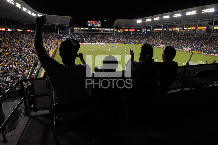 Los Angeles Galaxy's fan cheer after a goal scored against Kansas City Wizards during a 2-2 tie at the Home Depot Center in Carson, CA on Saturday, July 7, 2007.
