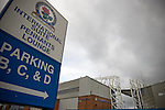 The Jack Walker stand at Ewood Park, home of Blackburn Rovers, seen from an adjacent street on the day the club played host to Aston Villa in a Barclays Premier League match. Blackburn won the match by two goals to nil watched by a crowd of 21,848. It was Rovers' first match under the ownership of Indian company Venky's.