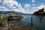 Wooden jetty and small boats at Port Renfrew.Vancouver Island, British Columbia, Canada.