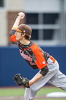 Bowling Green Falcons pitcher Zach Kendall (22) delivers a pitch to the plate against the Michigan Wolverines on April 6, 2016 at Ray Fisher Stadium in Ann Arbor, Michigan. Michigan defeated Bowling Green 5-0. (Andrew Woolley/Four Seam Images)