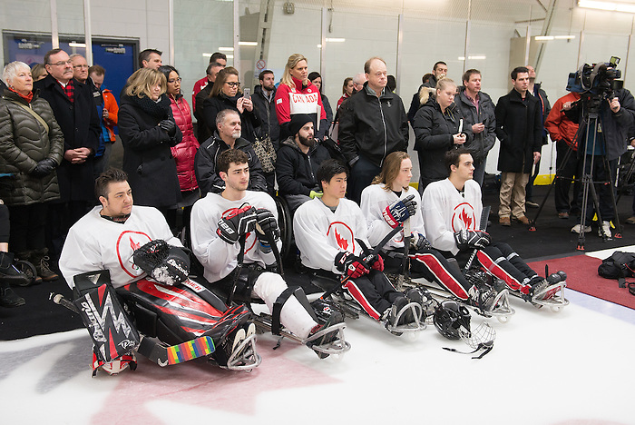 Ottawa, ON - January 24 2017 - Sledge Hockey players and Media look on as Todd Nicholson is announced as the Team Canada Chef de Mission for the 2018 Paralympic Winter Games in Pyeongchang, South Korea at the Jim Durrell Recreation Complex in Ottawa, Ontario, Canada (Photo: Matthew Murnaghan/Canadian Paralympic Committee)