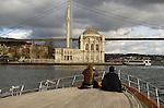 Mosque at Ortakoy under Ataturk Bridge over Bosporus Sea, Istanbul