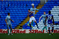 4th January 2020; St Andrews, Birmingham, Midlands, England; English FA Cup Football, Birmingham City versus Blackburn Rovers; Derrick Williams of Blackburn Rovers jumps higher than Álvaro of Birmingham City to head the ball out of defence - Strictly Editorial Use Only. No use with unauthorized audio, video, data, fixture lists, club/league logos or 'live' services. Online in-match use limited to 120 images, no video emulation. No use in betting, games or single club/league/player publications