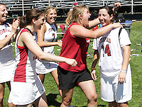 MORAGA, CA - May 1, 2011:  The team reacts to the naming of goalie Lyndsey Munoz as the Tournament MVP after Stanford's 12-10 victory over Oregon to win the MPSF tournament at Moraga, California on May 1, 2011.