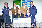 CHEQUE: John Delaney Chief Excutive of the FAI and David Blood President presented a cheque of EUR21,000 to Alan O'Sullivan (Chairman of Inter Kenmare Soccer Club) on Saturday in Mounthawke Soccer Park new dressing rooms on Saturday. Back l-r: Charlie Vaughan (Secretary), Jimmy O'Sullivan (President Inter- Kenmare) Ger Delaney (Munster Council) and Shannon Ryan (Club Capt)...................... ..............................   Copyright Kerry's Eye 2008