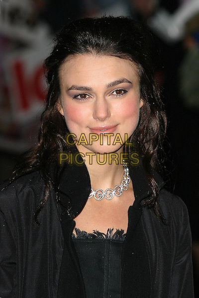 KEIRA KNIGHTLEY.Love Actually premiere, Odeon Leicester Square, London.15 November 2003.headshot, portrait.www.capitalpictures.com.sales@capitalpictures.com.©Capital Pictures
