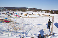 Saturday March 10, 2012 Teams rest on the ball diamond at the Nulato checkpoint. Iditarod 2012.