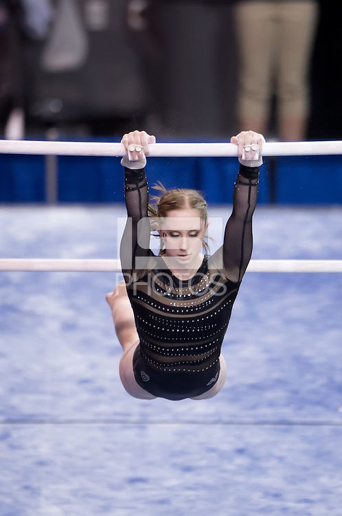 LOS ANGELES, CA - April 19, 2013:  Stanford's Shona Morgan competes on bars during the NCAA Championships at UCLA.