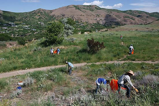 Salt Lake City - Volunteers worked to clean up trails on National Trails Day Saturday June 6, 2009. .