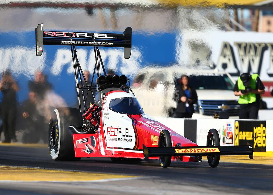 Feb 4, 2016; Chandler, AZ, USA; NHRA top fuel driver Troy Coughlin Jr makes a licensing run during pre season testing at Wild Horse Pass Motorsports Park. Mandatory Credit: Mark J. Rebilas-USA TODAY Sports