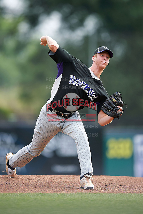 Cody Crouse #29 of Bloomingdale High School in Valrico, Florida playing for the Colorado Rockies scout team during the East Coast Pro Showcase at Alliance Bank Stadium on August 1, 2012 in Syracuse, New York.  (Mike Janes/Four Seam Images)