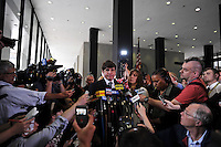 A teary eyed former Illinois Governor Rod Blagojevich speaks briefly to the media with his wife Patti Blagojevich at his side after being found guilty of 17 counts of wire fraud, attempted extortion, bribery, extortion conspiracy and bribery conspiracy as he leaves the Dirksen Federal Building in Chicago, Illinois on June 27, 2011. He was acquitted on one charge of bribery, and the jury deadlocked on two counts of attempted extortion.