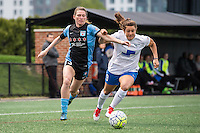 Allston, MA - Saturday, May 07, 2016: Chicago Red Stars defender Arin Gilliland (3) and Boston Breakers forward Stephanie McCaffrey (9) during a regular season National Women's Soccer League (NWSL) match at Jordan Field.