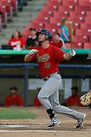 Jon Griffin #33 of the Visalia Rawhide bats against the High Desert Mavericks at Stater Bros. Stadium on July 20, 2013 in Adelanto, California. High Desert defeated Visalia, 7-4. (Larry Goren/Four Seam Images)