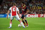 UEFA Champions League 2013/2014.<br /> FC Barcelona vs AFC Ajax: 4-0 - Game: 1.<br /> Neymar vs De Jong.