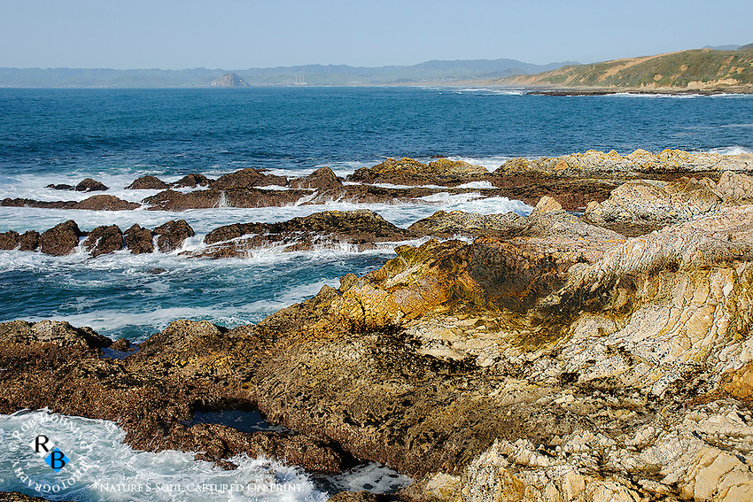 A distant view of Morrow Bay from the vantage point of the Montana de Oro State Park coast