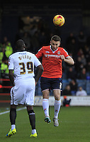 Stephen O'Donnell of Luton Town heads the ball away during the Sky Bet League 2 match between Luton Town and Notts County at Kenilworth Road, Luton, England on 30 January 2016. Photo by Liam Smith.