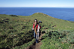 Woman hiking on Point Reyes headland