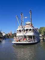 The Disneyland complex at Anaheim California showing a paddlesteamer on the river in America in Frontierland