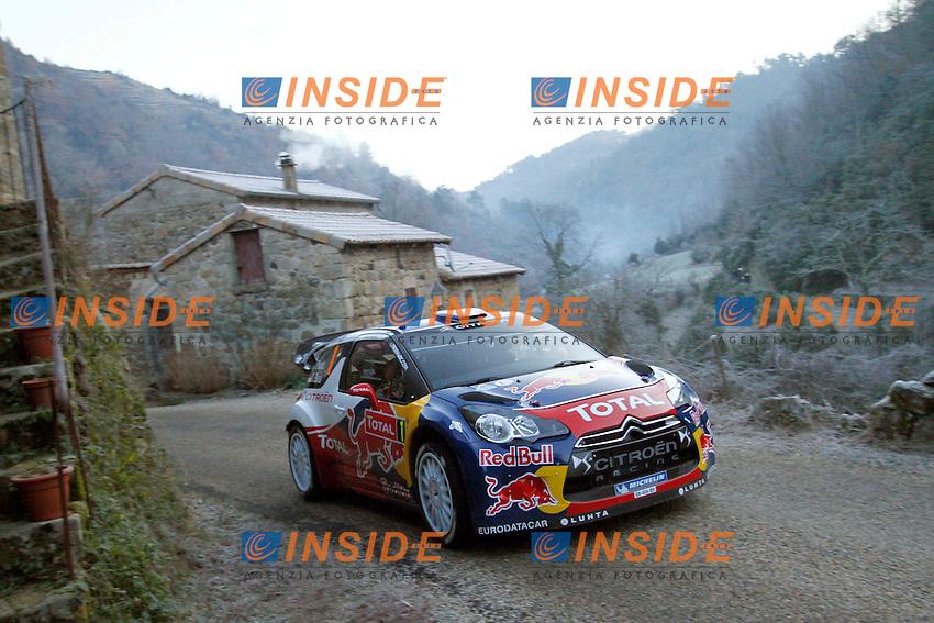 SEBASTIEN LOEB - DANIEL ELENA CITROEN DS3 WRC ACTION.Montecarlo 18/1/2012 .Rally di Montecarlo.Foto Insidefoto / Lavadinho S Presse / Panoramic