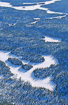 Forêts du Mont Valin vu d'avion Canada. Québec en hiver.