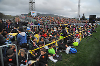 Fans watch the rugby union match between the Wellington Lions and Canterbury at Hutt Recreation Ground, Wellington, New Zealand on Friday, 9 August 2013. Photo: Dave Lintott / lintottphoto.co.nz