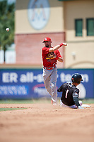 Palm Beach Cardinals second baseman Stefan Trosclair (22) throws to first base to try to complete a double play as Bryson Brigman (1) slides into second base during a game against the Jupiter Hammerheads on August 5, 2018 at Roger Dean Chevrolet Stadium in Jupiter, Florida.  Jupiter defeated Palm Beach 3-0.  (Mike Janes/Four Seam Images)