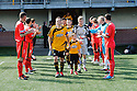 East Fife players form a guard of honour as they applaud Alloa players on to the pitch.