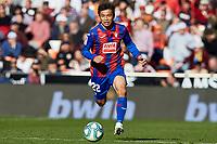 4th January 2020; Mestalla, Valencia, Spain; La Liga Football,Valencia versus Eibar; Takashi Inui of Eibar brings the ball forward - Editorial Use