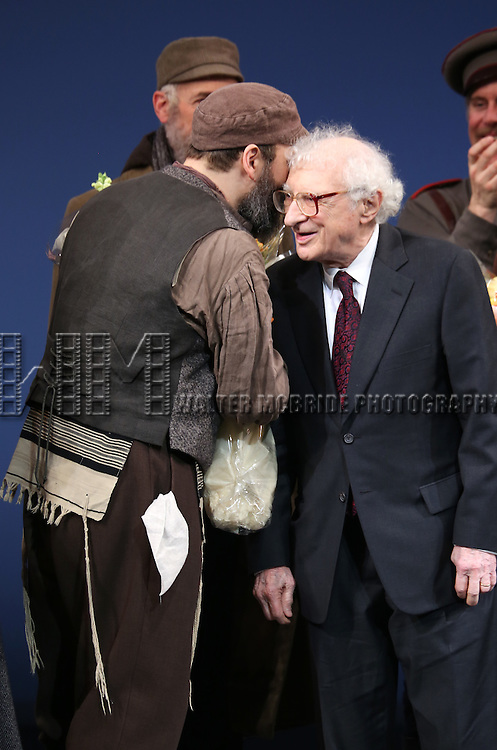 Danny Burstein and Sheldon Harnick during the Broadway Opening Night Performance Curtain Call bows for 'Fiddler On The Roof'  at the Broadway Theatre on December 20, 2015 in New York City.