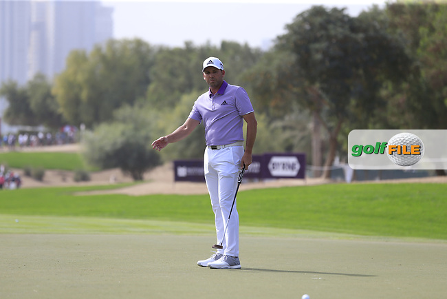 Sergio Garcia (ESP) on the 2nd during Round 2 of the Omega Dubai Desert Classic, Emirates Golf Club, Dubai,  United Arab Emirates. 25/01/2019<br /> Picture: Golffile | Thos Caffrey<br /> <br /> <br /> All photo usage must carry mandatory copyright credit (© Golffile | Thos Caffrey)