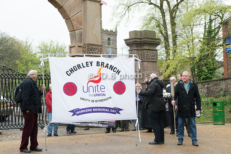 Steve Turner, (event organiser and secretary of Unite Chorley, rhs of banner) leads the procession