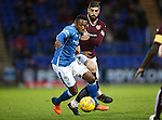 St Johnstone v Hearts..19.12.15  SPFL  McDiarmid Park, Perth<br /> Darnell Fisher and Juanma Delgado Lloria<br /> Picture by Graeme Hart.<br /> Copyright Perthshire Picture Agency<br /> Tel: 01738 623350  Mobile: 07990 594431