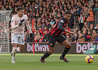 Bournemouth's Jordon Ibe (right) under pressure from Manchester United's Jesse Lingard (left) <br /> <br /> Photographer David Horton/CameraSport<br /> <br /> The Premier League - Bournemouth v Manchester United - Saturday 3rd November 2018 - Vitality Stadium - Bournemouth<br /> <br /> World Copyright &copy; 2018 CameraSport. All rights reserved. 43 Linden Ave. Countesthorpe. Leicester. England. LE8 5PG - Tel: +44 (0) 116 277 4147 - admin@camerasport.com - www.camerasport.com