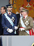 Prince Fellipe of Spain and Juan Carlos I King of Spain attend the National Day Military Parad.October 12,2012.(ALTERPHOTOS/Acero)