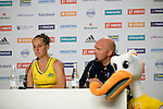 The Hague, Netherlands, June 05: Madonna Blyth #12 of Australia and head coach Adam Commens of Australia during the field hockey group match (Women - Group A) between Belgium and Australia on June 5, 2014 during the World Cup 2014 at Kyocera Stadium in The Hague, Netherlands. Final score 2:3 (1:1) (Photo by Dirk Markgraf / www.265-images.com) *** Local caption ***