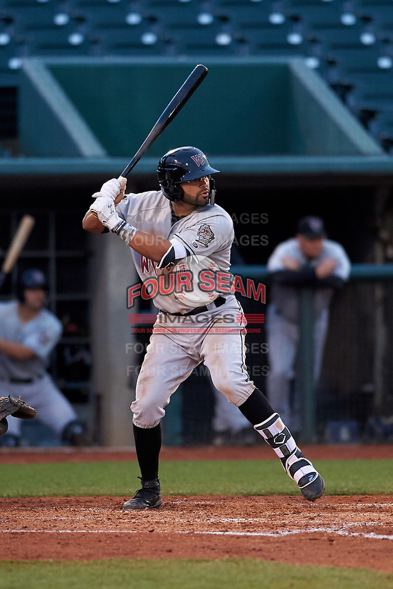 Wisconsin Timber Rattlers third baseman Gabriel Garcia (13) during a Midwest League game against the Lansing Lugnuts at Cooley Law School Stadium on May 1, 2019 in Lansing, Michigan. Wisconsin defeated Lansing 2-1 in the second game of a doubleheader. (Zachary Lucy/Four Seam Images)