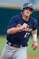 Mat Gamel (17) of the Huntsville Stars hustles into third base at the Baseball Grounds in Jacksonville, FL, Wednesday June 11, 2008.