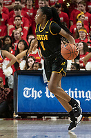 COLLEGE PARK, MD - FEBRUARY 13: Tomi Taiwo #1 of Iowa on the attack during a game between Iowa and Maryland at Xfinity Center on February 13, 2020 in College Park, Maryland.