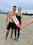 MIAMI BEACH, FLORIDA - APRIL 03: Parker Young and Claire Holt Takes Part in Life Time South Beach Triathlon benefiting the St. Jude Children Hospital at Lummus Park on Sunday April 3, 2016 in Miami Beach, Florida. ( Photo by Johnny Louis / jlnphotography.com )