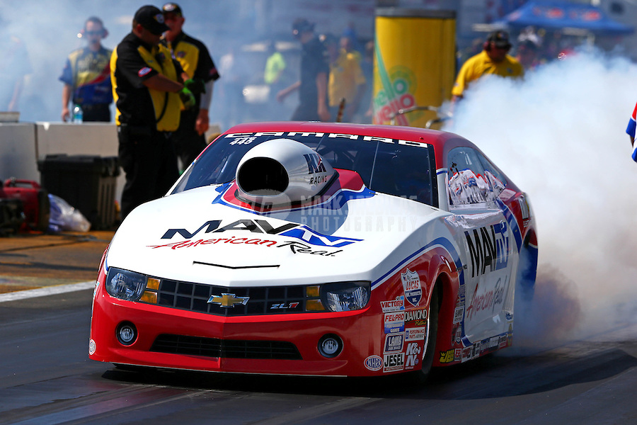 Aug. 17, 2013; Brainerd, MN, USA: NHRA pro stock driver Greg Stanfield during qualifying for the Lucas Oil Nationals at Brainerd International Raceway. Mandatory Credit: Mark J. Rebilas-