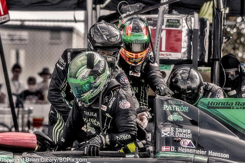 Driver change, #1 HPD ARX-04b 01/Honda ,  Scott Sharp, David Hansson, Ryan Dalziel   12 Hours of Sebring, Sebring International Raceway, Sebring, FL, March 2015.  (Photo by Brian Cleary/ www.bcpix.com )