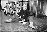Dancer hammering pointe shoes to break them in...Jo Clarke 1993 RFH