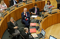 Pictured: First Minister for Wales Carwyn Jones  (2nd L). Tuesday 11 December 2018<br /> Re: First Minister for Wales Carwyn Jones during his last First Minister Questions at the Senedd in Cardiff Bay, Wales, UK. He will be succeeded by Assembly Member Mark Drakeford.