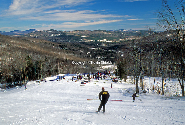 Preparing for a ski race at Black Mountain Ski Area in Rumford, Maine, USA