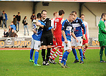 2015-10-25 / Voetbal / Seizoen 2015-2016 / FC Turnhout - KV Vosselaar / FC Turnhout viert de 3-1 overwinning tegen de buren uit Vosselaar. Hier doelman Wim Horsten<br /><br />Foto: Mpics.be